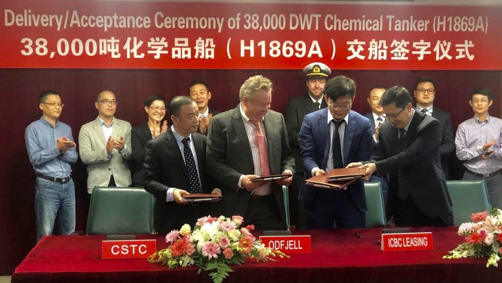 Delivery ceremony at Hudong-Zhonghua yard as chemical tanker Bow Excellence enters Odfjell's fleet