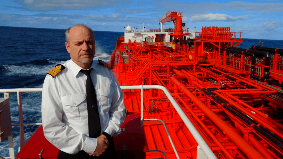 Captain Hevrøy on the bridge of Odfjell's chemical tanker Bow Excellence underway to South Carolina