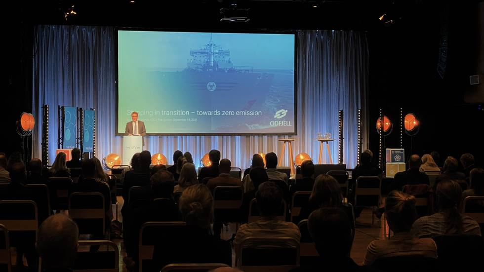 CEO of Odfjell SE, Kristian Mørch, on stage at The Ocean conference, held in Bergen September 14, 2021