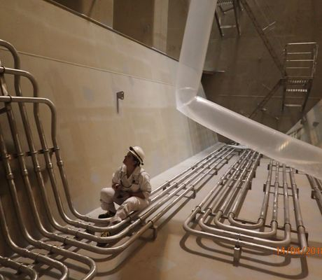 Inspecting the stainless steel tanks of an Odfjell chemical tanker
